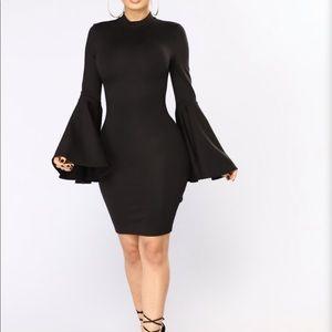 Black, flared sleeved dress